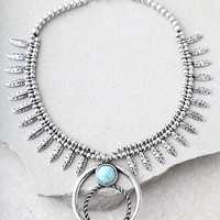 Good Luck Charm Turquoise and Silver Statement Necklace