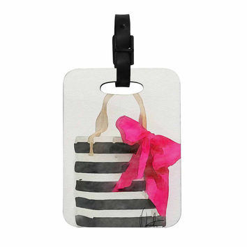 """Oriana Cordero  """"French Outing"""" Black Pink Decorative Luggage Tag"""