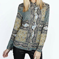 Floral And Abstract Long-Sleeve Collar Shirt