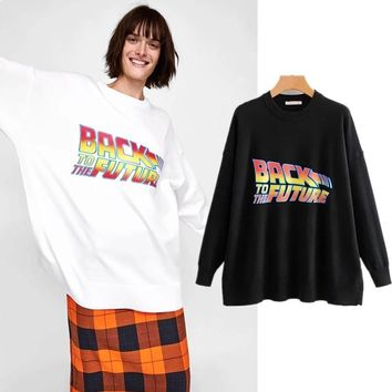 Back To The Future Logo Printed Knit Oversize Sweatshirt Style Sweater