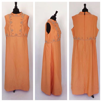 PLUS SIZE Vintage 1960s Peach Orange Maxi Dress Hostess Gown Jeweled Beaded Prom Dress Long Bridesmaid Size Large Motown Crest Fashions Gown