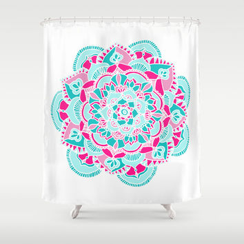 Hot Pink & Teal Mandala Flower Shower Curtain by Tangerine-Tane