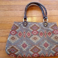 Brown Rust Fabric Handbag Carpet Style Bag Geometric Design