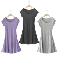New Women Soft Cotton Crew Neck Sundress Casual Short Sleeve T-shirt Mini Dress