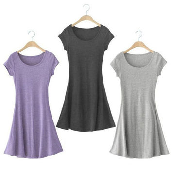 New Women Soft Cotton Crew Neck Sundress Casual Short Sleeve T-shirt Mini Dress Hot