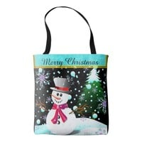 "Snowman ""Merry Christmas"" personalised Tote Bag"