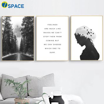 7-Space Forest Landscape Wall Art Print Canvas Painting Nordic Posters And Prints Pop Art Wall Pictures For Living Room Decor