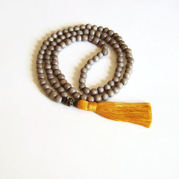 108 mala necklace tassel, Buddhist prayer bead necklace, Orange tassel necklace mala yoga, Long grey wood necklace, Meditation mala