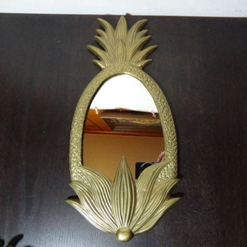 Vintage Brass Pineapple Shaped Wall Mirror - Brass Pineapple Welcome Mirror - Mid Century Modern