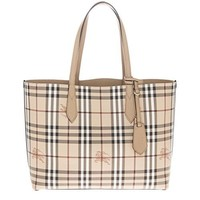 Burberry Women's Medium Reversible Handbag in Haymarket Check Camel