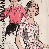 1960s Advance Sewing Pattern Button Front Blouse Long Short Sleeve Shirt Retro Mad Men Style Dart Fitted Wide Collar Uncut FF Bust 34