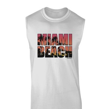 Miami Beach - Sunset Palm Trees Muscle Shirt  by TooLoud