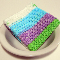 Large Pastel Striped Hand Knit Cotton Washcloth/ Dishcloth, 9 inches square