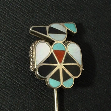 Vintage STERLING Native American ZUNI Thunderbird STICKPIN Turquoise Coral Jet Mother of Pearl Pin Inlay Mosaic c.1960's