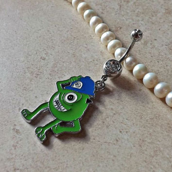 Mike Wazowski with Hat on Belly Ring Monsters Inc Body Jewelry