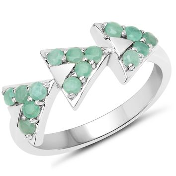 LoveHuang 0.41 Carats Genuine Emerald Arrowhead Ring Solid .925 Sterling Silver With Rhodium Plating