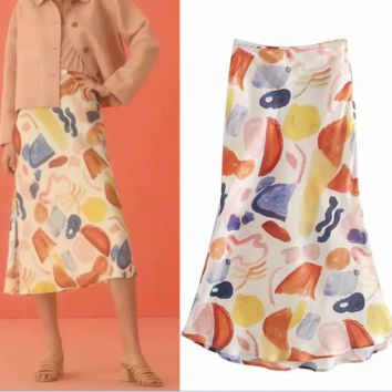 Trend retro print satin loose and slim versatile slit skirt women