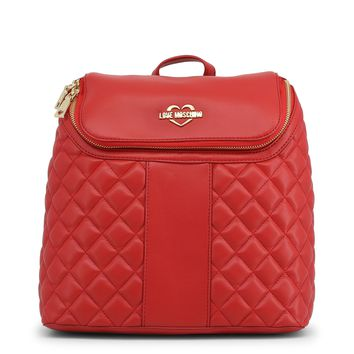 Love Moschino Women's Quilted Backpack Red.