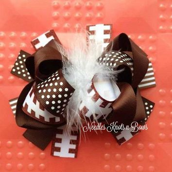 Football Hairbow, Girls Over the Top Feather Hairbow, Boutique Football Headband