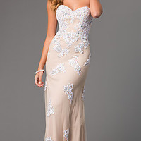 Strapless Lace Gown with Corset Top