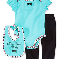 First Impressions Baby Girls' 3-Piece Bib, Bodysuit & Pants Set