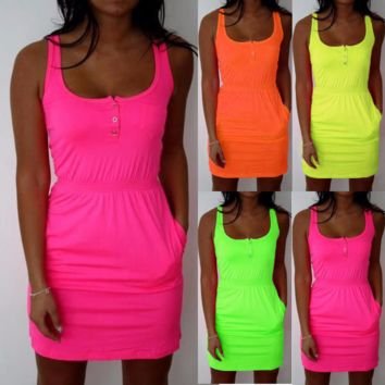 Trendy Neon Short Slim Hip Stylish Dress