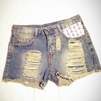 Achors Distressed High Waist Shorts Hipster