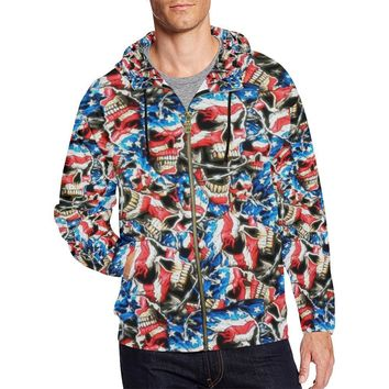 American Barbwire Skulls Men's All Over Print Full Zip Hoodie