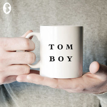 Tomboy Typography Ceramic Coffee Mug, Quote Mug, Text Mug, Unique Coffee Mug, Minimalist Typographic Mug, Gift for Her, Statement Mug