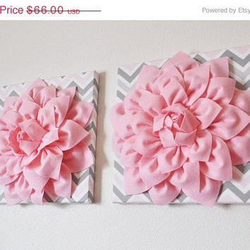 "MOTHERS DAY SALE Two Wall Flower Decor -Light Pink Dahlia on Pink and Gray Chevron 12 x12"" Canvas Wall Art- Baby Nursery Wall Decor-"