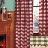 One Sage Green Buffalo Check Window Panel Curtain Window Treatment Country Decor