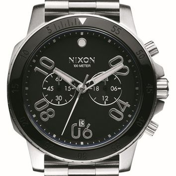 Men's Nixon 'Ranger' Chronograph Bracelet Watch, 44mm - Silver/ Black