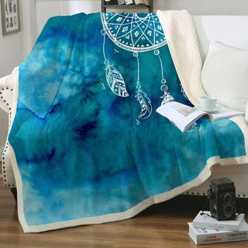 Warming Watercolor Dreamcatcher Sherpa Blanket