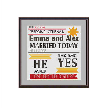 Wedding cross stitch, Wedding journal, Wedding announcement, She said yes, He asked, Just married, Marriage gifts, Cross stitch pattern, PDF