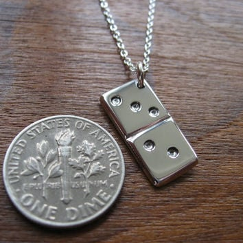 Silver Dominoes Charm Pendant Necklace