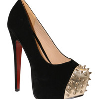 Gold Spikes High Heel Court Shoe in Black