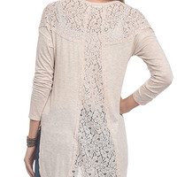 Lace Panel Slub Knit Tunic Top