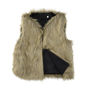 Fashion Girls Faux Fur Vest Coat Soft Autumn Winter Children Baby Girl Jacket Kids Outwear Sleeveless Clothing 1-5T