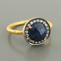 Sapphire Ring - Gold Ring - Gemstone Ring - September Birthstone Ring - handmade jewelry