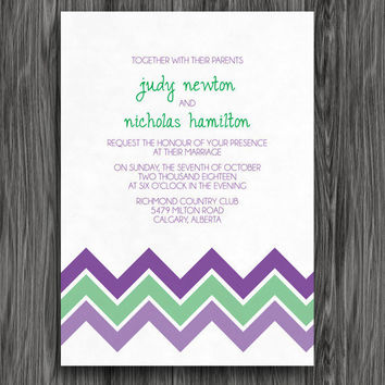 Wedding Invitation - Purple and Green Chevron Printable
