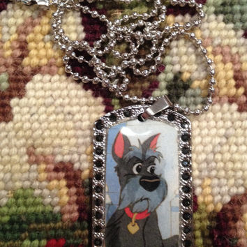 Disney's Lady and the Tramp Jock Silver With Black Rhinestones Dog Tag Necklace