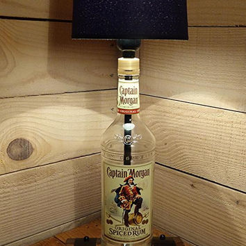 Mancave Lighting - Lamp Made Using a Captain Morgan Bottle Complete With Rum Barrel Base