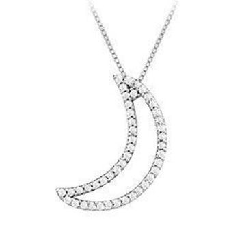 Diamond Moon Pendant : 14K White Gold - 0.20 CT Diamonds