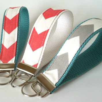 Bridesmaid Key Fobs - Set of Three, Chevron Wristlet Keychain, Coral Grey Aqua Wedding, Wrist Strap, Bridesmaid Gift, Coral Grey Chevron