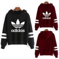 """Adidas"" Unisex Sport Casual Multicolor Stripe Clover Letter Print Long Sleeve Hooded Sweater Couple Sweatshirt Hoodie Tops"