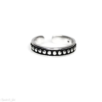 Sterling Silver Antiqued Beaded Line Toe Ring