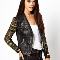 River Island Embellished Sleeve Biker Jacket at asos.com