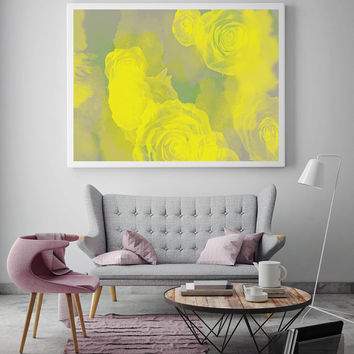 Yellow Roses Print, Flower Art, Minimalist Poster, Modern Wall Art, Colorful Poster, Abstract Art, Paint Art Print, Pastel Print, 11x17