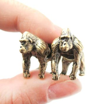 Fake Gauge Earrings: Realistic Gorilla Monkey Shaped Animal Themed Stud Earrings in Brass