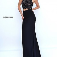 Two Piece Lace Halter Top Black Sherri Hill Gown